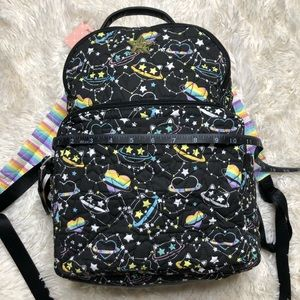 Betsey Johnson rainbow space cat backpack